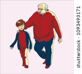 grandfather walks with his... | Shutterstock .eps vector #1093493171