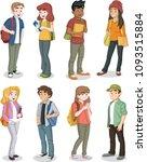 cartoon teenager students with... | Shutterstock .eps vector #1093515884