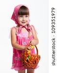 a little girl in a kerchief... | Shutterstock . vector #109351979