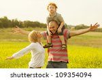 happy family having fun and... | Shutterstock . vector #109354094