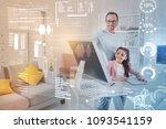 young teacher. emotional clever ... | Shutterstock . vector #1093541159