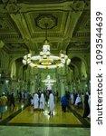 Small photo of Masjidil Haram,Mecca-January 28th,2018:Beautiful interior design of the Haram Mosque. Masjidil Haram is one of the holy mosque for Muslim.