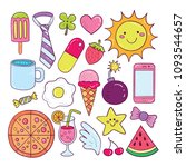cute colorful doodle sticker... | Shutterstock .eps vector #1093544657