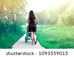 girl walking with a baby...   Shutterstock . vector #1093559015