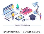 online education concept banner ... | Shutterstock .eps vector #1093563191