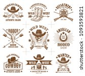 collection of nine wild west... | Shutterstock .eps vector #1093593821