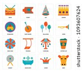 set of 16 simple editable icons ...   Shutterstock .eps vector #1093607624