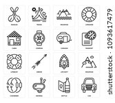 set of 16 simple editable icons ... | Shutterstock .eps vector #1093617479