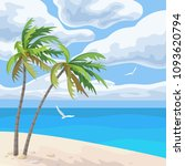 seaside landscape with palm... | Shutterstock .eps vector #1093620794