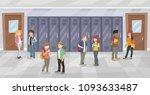 cartoon students in school...   Shutterstock .eps vector #1093633487