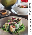 fresh vegetarian spring rolls... | Shutterstock . vector #1093633871