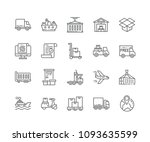 set of shipping outline icons... | Shutterstock .eps vector #1093635599