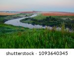 foggy summer landscape with... | Shutterstock . vector #1093640345
