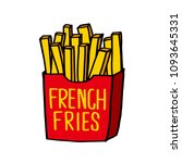 french fries on a white... | Shutterstock .eps vector #1093645331