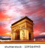 paris  famous arc de triumph... | Shutterstock . vector #109364945