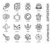 set of 16 simple editable icons ... | Shutterstock .eps vector #1093653404