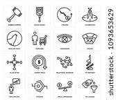 set of 16 simple editable icons ... | Shutterstock .eps vector #1093653629
