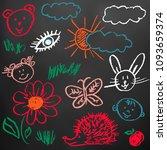 children's drawings. elements... | Shutterstock .eps vector #1093659374
