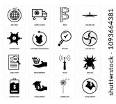 set of 16 simple editable icons ...   Shutterstock .eps vector #1093664381