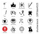 set of 16 simple editable icons ... | Shutterstock .eps vector #1093664525