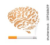 cigarette and human brain background - illustration - stock vector