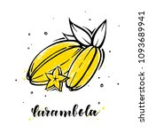 carambola in hand drawn style... | Shutterstock .eps vector #1093689941