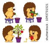 hedgehog grow  tree with apple  ... | Shutterstock .eps vector #1093731521