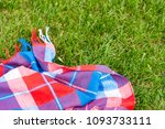 checkered bright blanket on... | Shutterstock . vector #1093733111