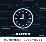 glitch effect. clock line icon. ... | Shutterstock .eps vector #1093748711
