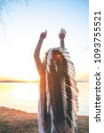 back view of shamanic young... | Shutterstock . vector #1093755521