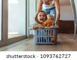 excited little girl with teddy... | Shutterstock . vector #1093762727