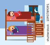 young girls asleep in bunk bed... | Shutterstock .eps vector #1093789391