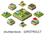 farm set of houses | Shutterstock . vector #1093790117