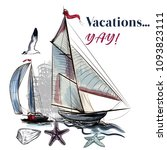 sea vacations illustration with ... | Shutterstock .eps vector #1093823111