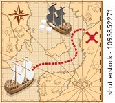 pirate map with the route to... | Shutterstock . vector #1093852271