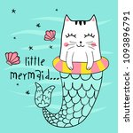 Stock vector cute cat mermaid vector 1093896791