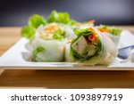 spring roll dip on wooden table ... | Shutterstock . vector #1093897919