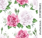 rose flowers  petals and leaves ...   Shutterstock . vector #1093898681