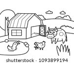farm scene with cow  duck and... | Shutterstock .eps vector #1093899194