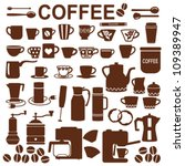 coffee related silhouette... | Shutterstock .eps vector #109389947