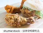 hamburger with fried chicken... | Shutterstock . vector #1093908911