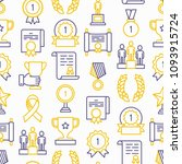 awards seamless pattern with... | Shutterstock .eps vector #1093915724