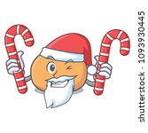 santa with candy mochi mascot... | Shutterstock .eps vector #1093930445