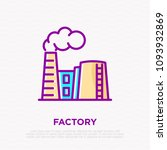 factory with smoke from chimney ... | Shutterstock .eps vector #1093932869