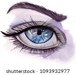 Watercolor Illustrated Eye  ...
