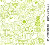 fruits and vegetables seamless... | Shutterstock .eps vector #1093934117