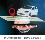 view of a car on a map with a... | Shutterstock . vector #1093934387