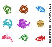 Tropical Sea Shell Icons Set...