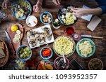 flat lay of friends hands... | Shutterstock . vector #1093952357