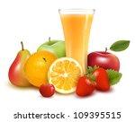 fresh fruit and juice. vector... | Shutterstock .eps vector #109395515
